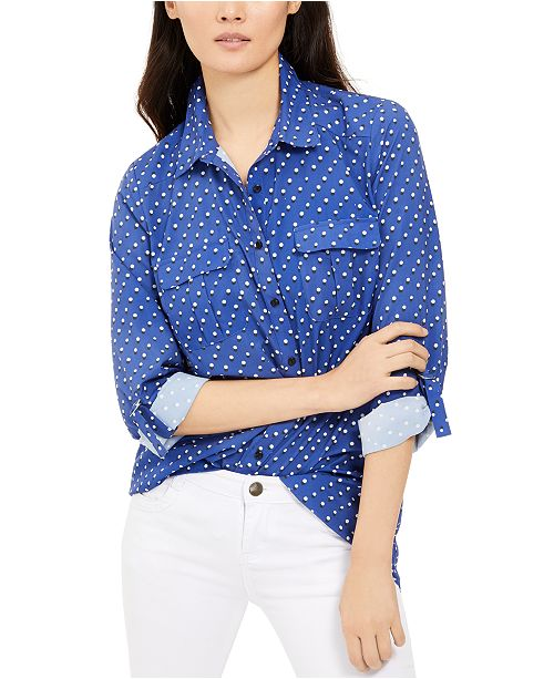NY Collection Petite Polka Dot Button-Down Shirt