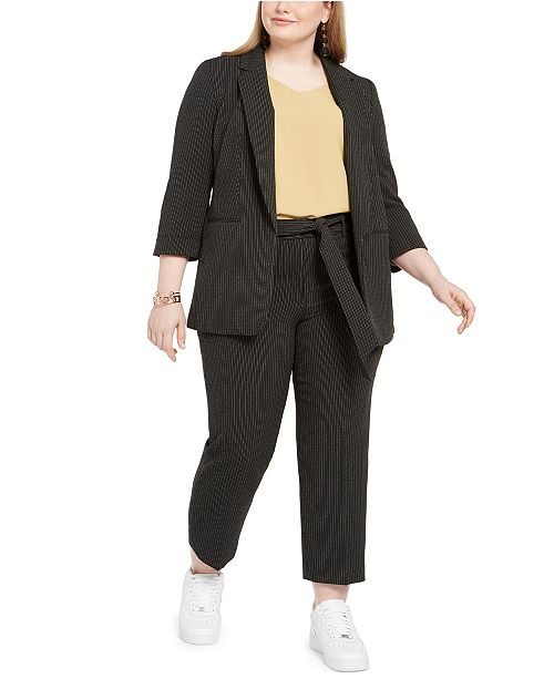 Bar III Plus Size Notch-Collar Blazer, Bell-Cuff Top & Vertical-Stripe Pants, Created for Macy's