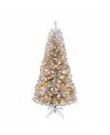 7-feet Pre-lit Silver Point Pine Tree