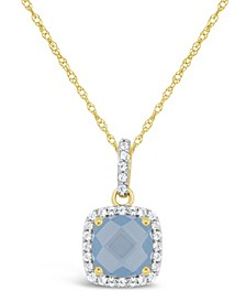 Created Spinel Aquamarine (1-5/8 ct. t.w.) and Created White Sapphire (1/6 ct. t.w.) Pendant Necklace in 10k Yellow Gold. Also Available in Created Sapphire (2 ct. t.w.)