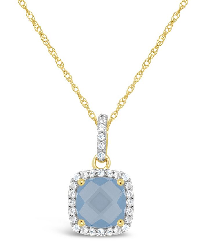 Macy's - Created Gemstone and Created White Sapphire (1/6 ct. t.w.) Pendant Necklace in 10k Yellow Gold