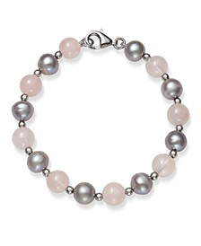 "Gray Cultured Freshwater Pearl 7.5-8.5mm and Rose Quartz 8mm 7.5"" Bracelet in Sterling Silver"