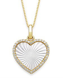 """Mother of Pearl 14x13mm and Cubic Zirconia Heart Shaped Pearl Pendant with 18"""" Chain in Gold over Silver"""