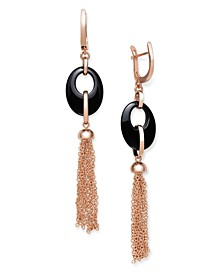 Black Onyx 20x15mm Dangle Earrings in Rose Gold over Silver