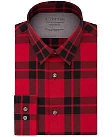 Men's Extra-Slim Fit Performance Stretch Temperature-Regulating Check Dress Shirt