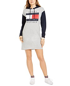 Colorblocked Flag Logo Hoodie Sweatshirt Dress