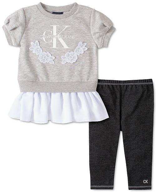 Calvin Klein Toddler Girls 2-Pc. Peplum Sweatshirt & Leggings