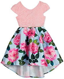 Toddler Girls Lace & Floral Mikado High-Low Dress