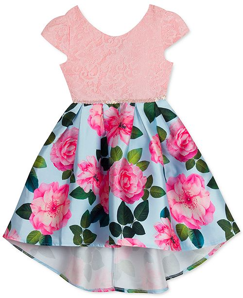 Rare Editions Little Girls Lace & Floral Mikado High-Low Dress
