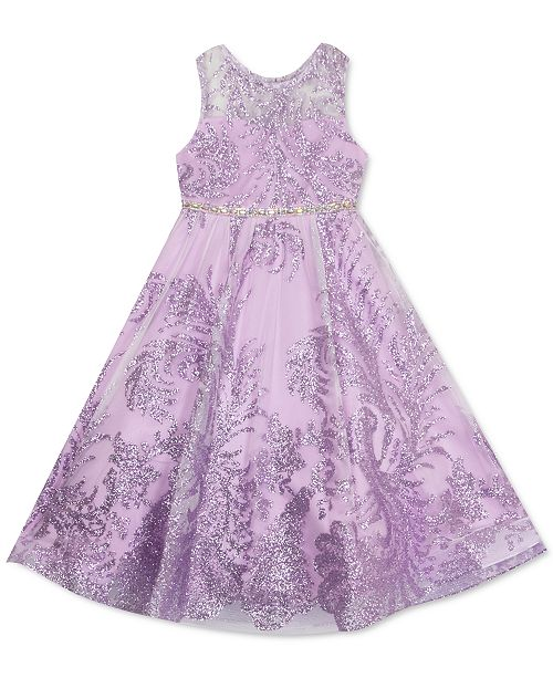 Rare Editions Little Girls Glitter Mesh Dress