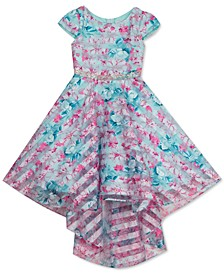Little Girls Shadow-Stripe Floral High-Low Dress