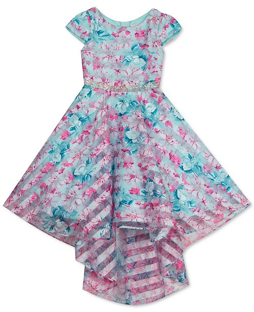 Rare Editions Toddler Girls Shadow-Stripe Floral High-Low Dress