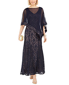 R & M Richards Glitter Lace Gown & Capelet