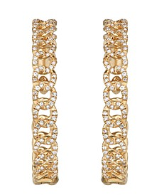 Diamond (3/4 ct. t.w.) Link Medium Hoop Earrings in 14K Yellow Gold