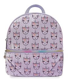 Whimsical Unicorn Printed Velvet Mini Backpack
