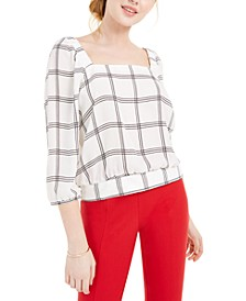 Juniors' Plaid Banded-Hem Blouse
