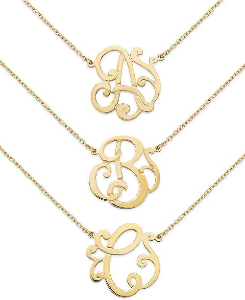 Giani Bernini 24k Gold over Sterling Silver Initial Pendant Necklaces