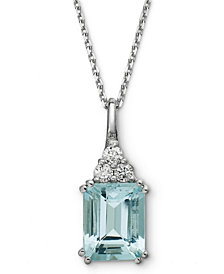 14k White Gold Necklace, Aquamarine (3-1/5 ct. t.w.) and Diamond (1/5 ct. t.w.) Pendant