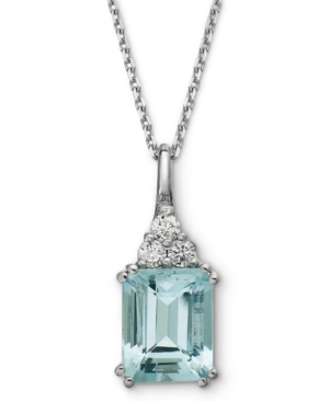 14k White Gold Necklace, Aquamarine (3-1/5 ct. t.w.) and Diamond (1/5 ct. t.w.) Pendant
