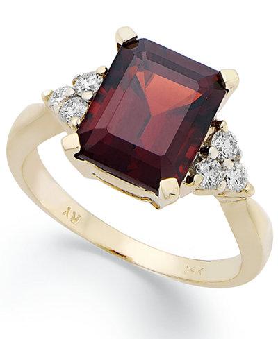 14k Gold Ring, Emerald-Cut Garnet (3-1/2 ct. t.w.) and Diamond (1/4 ct. t.w.) Ring