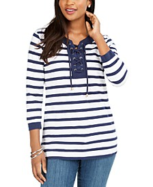 Cotton Lace-Up Grommet-Neck Tunic, Created for Macy's