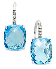 14k White Gold Earrings, Blue Topaz (16 ct. t.w.) and Diamond Leverback Earrings