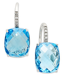 14k White Gold Earrings, Blue Topaz (16 ct. t.w.) and Diamond Leverback Earrings