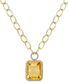 14k Gold Necklace, Citrine (22 ct. t.w.) and Diamond (5/8 ct. t.w.) Rectangle Pendant