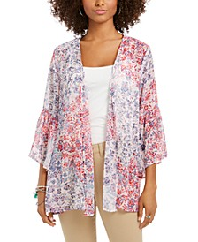 Printed Flutter-Sleeve Kimono Top, Created For Macy's