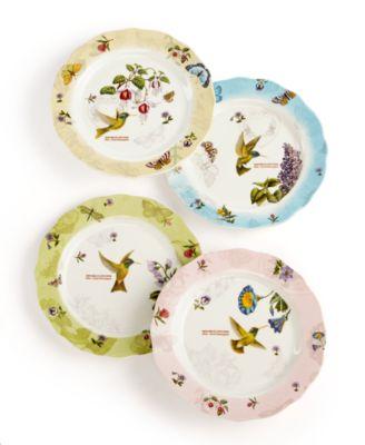 CLOSEOUT! Portmeirion Dinnerware Set of 4 Botanic Hummingbird Decorated Canape Plates  sc 1 st  Macy\u0027s & CLOSEOUT! Portmeirion Dinnerware Set of 4 Botanic Hummingbird ...