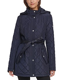 Hooded Water-Resistant Belted Quilted Jacket