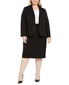 Plus Size Two-Button Skirt Suit