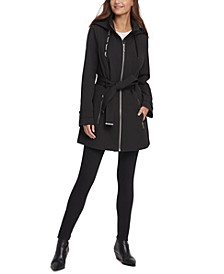 Hooded Belted Water-Resistant Raincoat, Created for Macy's