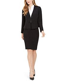 Le Suit Jeweled-Button Skirt Suit