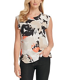 Printed Cap-Sleeve Top