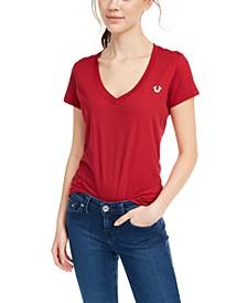 V-Neck Graphic Cotton T-Shirt