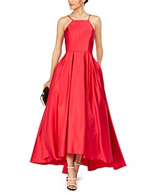 Petite Satin High-Low Gown
