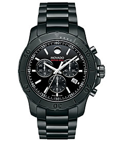 Movado Men's Swiss Chronograph Series 800 Black PVD-Finish Performance Steel Bracelet Watch 42mm 2600119