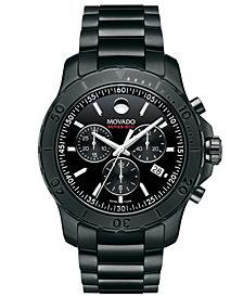 Movado Men's Swiss Chronograph Series 800 Black PVD-Finish Performance Steel Bracelet Watch 42mm 2600119