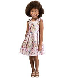 Little Girls Floral-Print Bow Dress