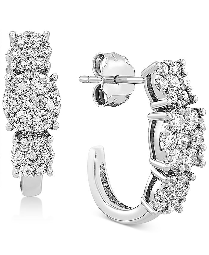 Forever Grown Diamonds - Lab-Created Diamond Curved Drop Earrings (3/4 ct. t.w.) in Sterling Silver