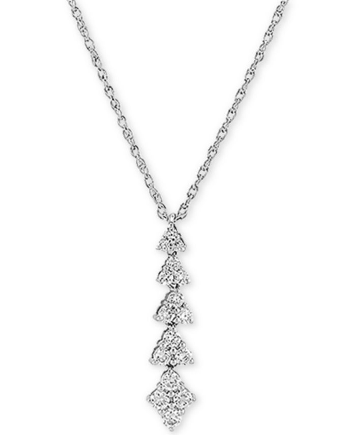 """Forever Grown Diamonds - Lab-Created Diamond Linear Cluster 18"""" Pendant Necklace (1/2 ct. t.w.) in Sterling Silver"""