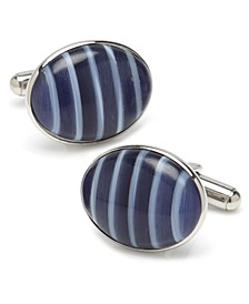 Ox Bull & Trading Co Blue Catseye Stripe Cufflinks