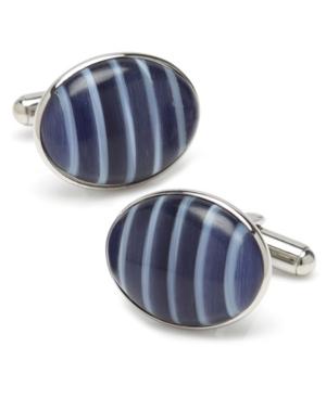 Ox Bull & Trading Co Blue Catseye Stripe Cufflinks