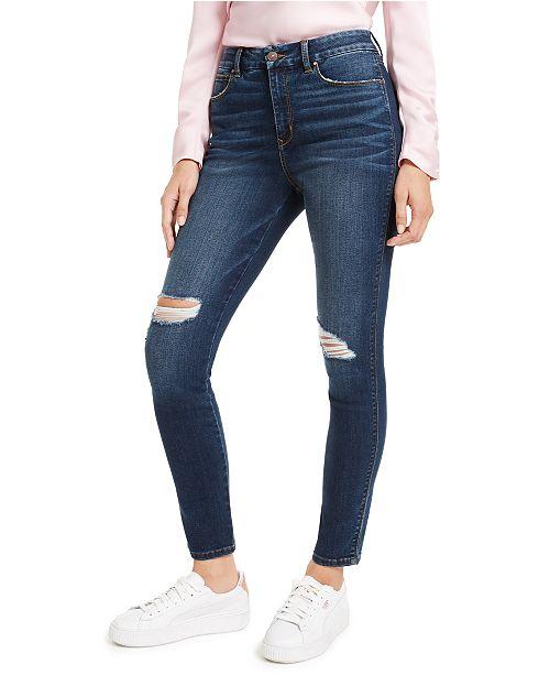 Rewash Juniors' Curvy Fit Ripped High-Rise Skinny Jeans