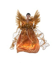 13-Inch UL 10-Light Gold African American Angel Treetop