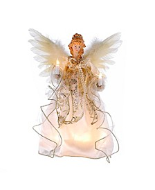12-Inch 10-Light Ivory and Gold Angel Treetop