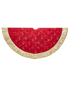 60-Inch Red and Gold Ornament Tree Skirt