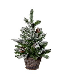 24-inch Flocked with Pinecones Tree