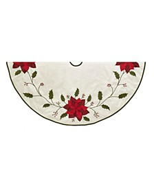 54-Inch Ivory with Holly Leaves and Poinsettia Tree Skirt